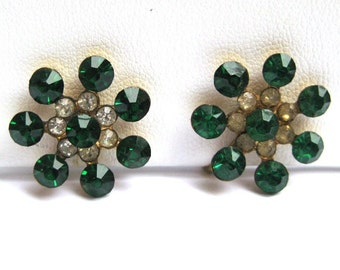Vintage CORO Green Rhinestone Flower Earrings Costume Jewelry