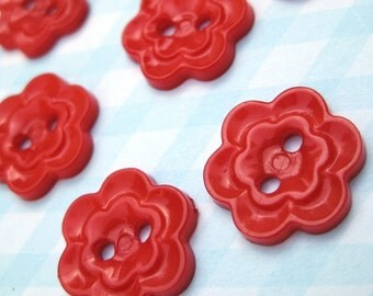8 Vintage Red Flower Plastic Sewing Buttons