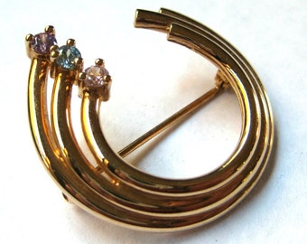 Vintage Gold Rhinestone Crescent Brooch Costume Jewelry