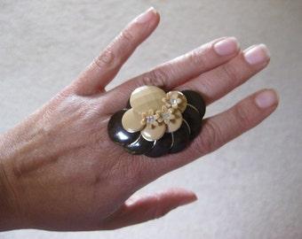 Upcycled Art Deco Flower Ring Handmade