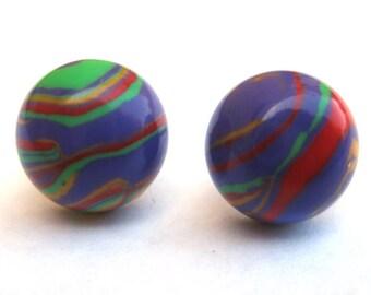 Funky Multicolor Rainbow Striped Post Earrings Model G