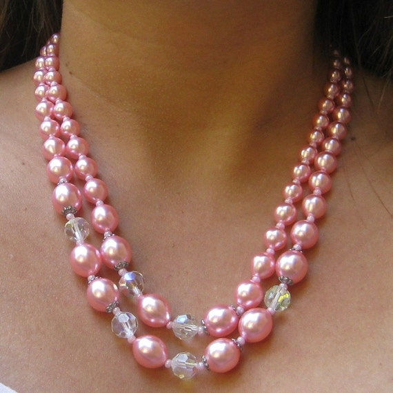 Vintage Pink Crystal Faux Pearl Necklace Costume Jewelry