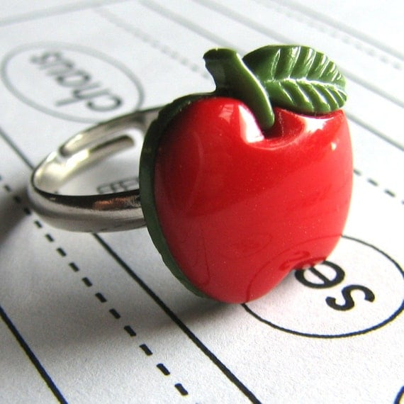 Adjustable Red Apple Ring SALE