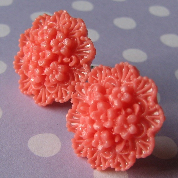 Lacy coral flower cabochons earrings