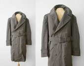 gabardine  MENS vintage wool military overcoat TRENCH size M-L