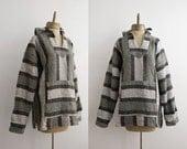 baja VINTAGE ethnic woven HOODIE pullover sz L-XL