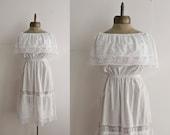 tiered lace mexican cotton peasant dress sz M-L