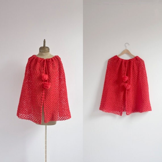 pom pom VINTAGE lace knit wool shawl sz M-L