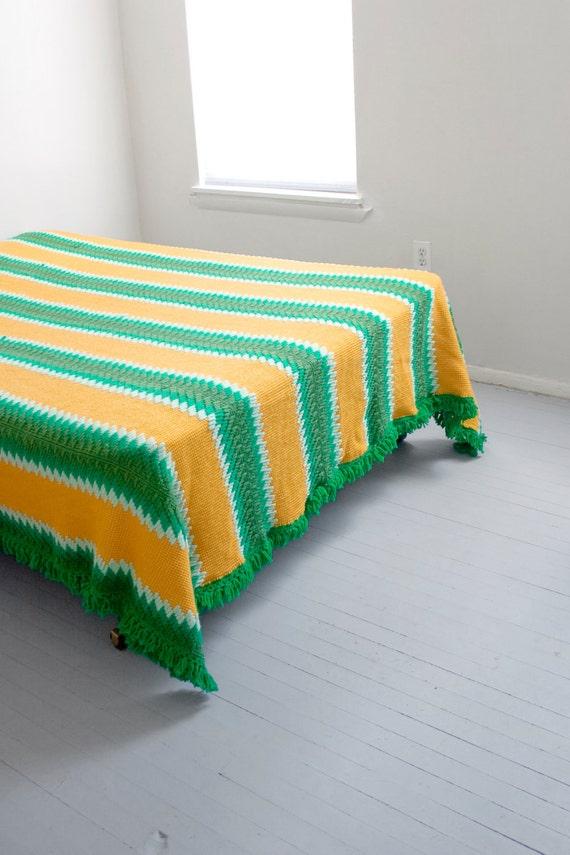 RESERVED LISTING 1970s vintage heavy tapestry bold stripe fringe BEDSPREAD