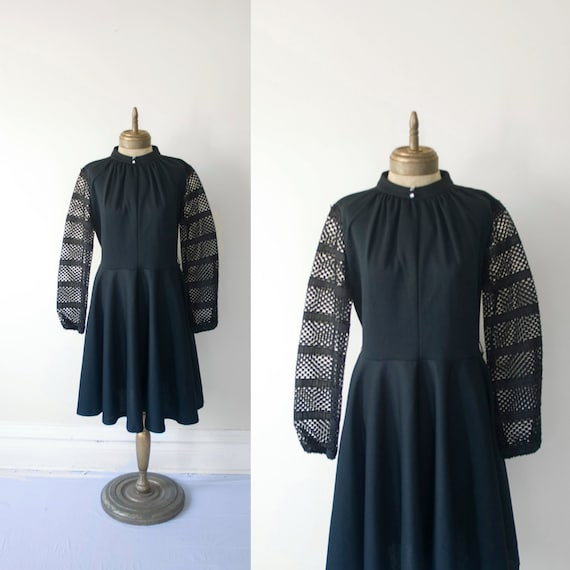 RESERVED for christin 1960s black lace sleeve party DRESS sz XL
