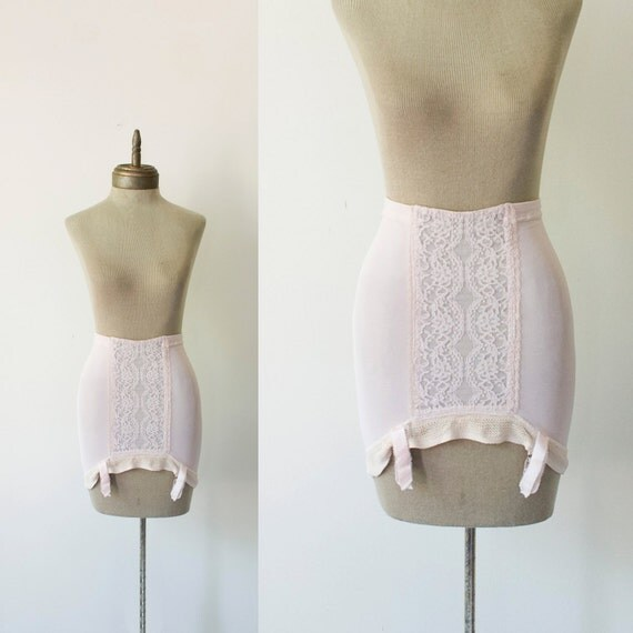coquette 1960s vintage pink lacey girdle with suspenders sz S-M