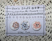 """BUTTONS HANDMADE EMBROIDERED Boho Sewing Craft Supplies  """"Pretty Posies"""""""