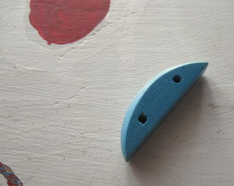 VINTAGE WOOD BEADS Colorful Bright Blue Crescent Shape