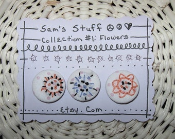 "BUTTONS HANDMADE EMBROIDERED Boho Sewing Craft Supplies  ""Pretty Posies"""