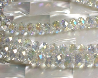8mm Crystal rondelles glass Iridescent clear set of 12 pcs