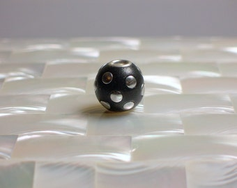 1pc Polymer clay Bead Round Black with silver tone Embellishments European style Jewelry Jewellery Craft Supplies