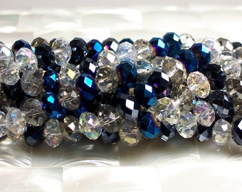 48pcs 6mm Beads Rondelles Chinese Glass Crystal Indigo Blue Metallic Mix strand Jewelry Jewellery Craft Supplies