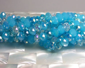 36pcs 8mm Chinese Glass Crystal rondelles Aqua Blue Heather Mix strand Jewelry Jewellery Craft Supplies