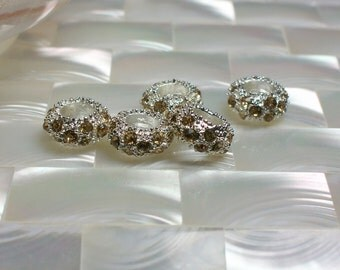 5pcs Silver plated Champagne color Cubic Zirconia Rondelle Beads Silver Plated Brass Textured Findings Jewelry Jewellery Craft Supplies