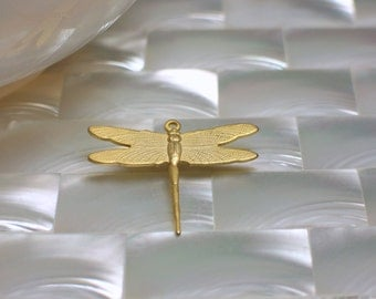 1pc Dragonfly Charm Drop Pendant Matte Gold plated Brass Small Lightweight Jewelry Jewellery Craft Supplies