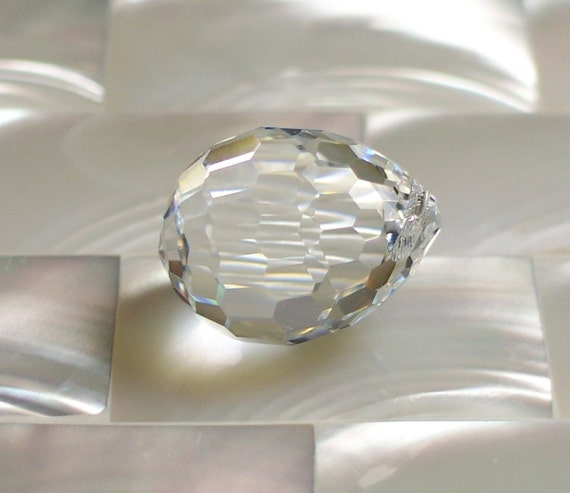 Swarovski crystal faceted plump Teardrop clear