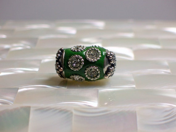 CLEARANCE 1pc Green Polymer clay Cylinder/Barrel Shape bead with Rhinestone embellishments Jewelry Jewellery Craft Supplies