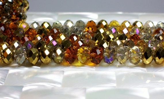 Czech Crystal rondelle strand 8mm Multi brown copper gold shades 36pcs