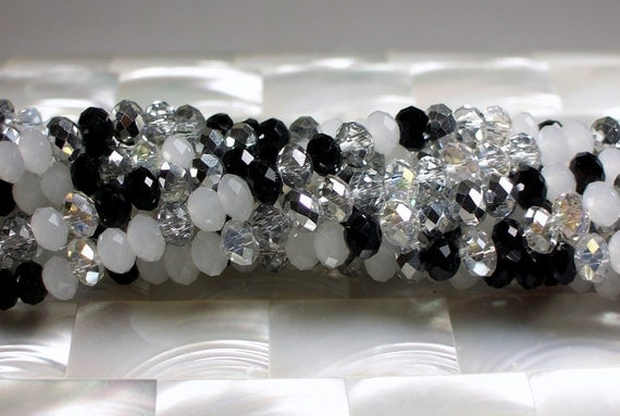 36pcs 8mm Chinese Crystal Glass Rondelle Bead Strand Multi Color Black White Silver Clear Jewelry Jewellery Craft Supplies