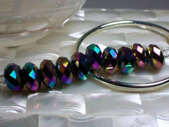 14mm Large Hole Chinese glass Crystal rondelles 5 pcs Iridescent Peacock