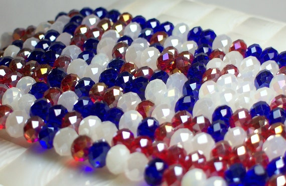 Chinese Glass Crystal rondelles 8mm Old Glory/Red/ White/Blue/Mix strand 36pcs