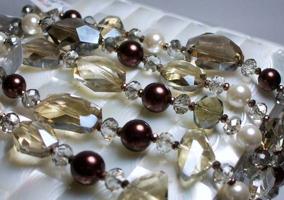Metallic Bronze Glass Bead and faux Pearl strand Mix