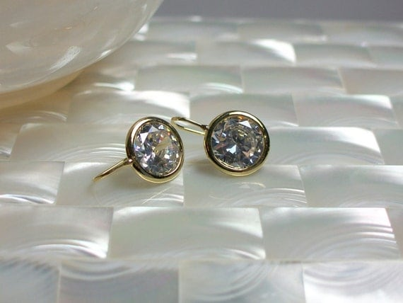 Earrings Gold plated with Round Bezel set Cubic Zirconia