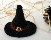 Tiny Crocheted Witch Hat - For Display Use, Wear, Or As An Ornament - Fascinator
