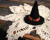 Primitive Orange and Black Tiny Crocheted Witch Hat - For Display Use, Pet Costume Or As An Ornament