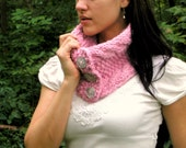 Reserved -  Soft Chunky Knit Light Pink Wool Cable Cowl by lostsentiments