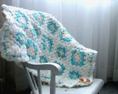 Crocheted Granny Square Shabby Chic Baby Blanket with Ruffled Edging - White, Aqua Green, Light Blue, Light Pink, with a Hint of Yellow - lostsentiments