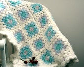 RESERVED for Jeannie - Crocheted Granny Square Shabby Chic Baby Blanket - Ruffled Edging - White, Light Blue, Light Purple by lostsentiments