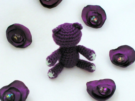 RESERVED for Dalin - Violet - Tiny Adorable Crocheted Amigurumi Teddy Bear by lostsentiments - Ready to Ship