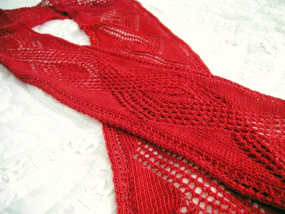 Red Lace Diamond Hand Knit Cotton Scarf - Long & Skinny by lostsentiments
