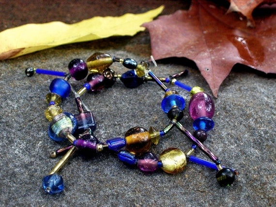 RESERVED for Shahmain -  Double Strand Stretch Bracelet with Jewel Tones - Purple, Yellow, Gold, Blue, Green by lostsentiments