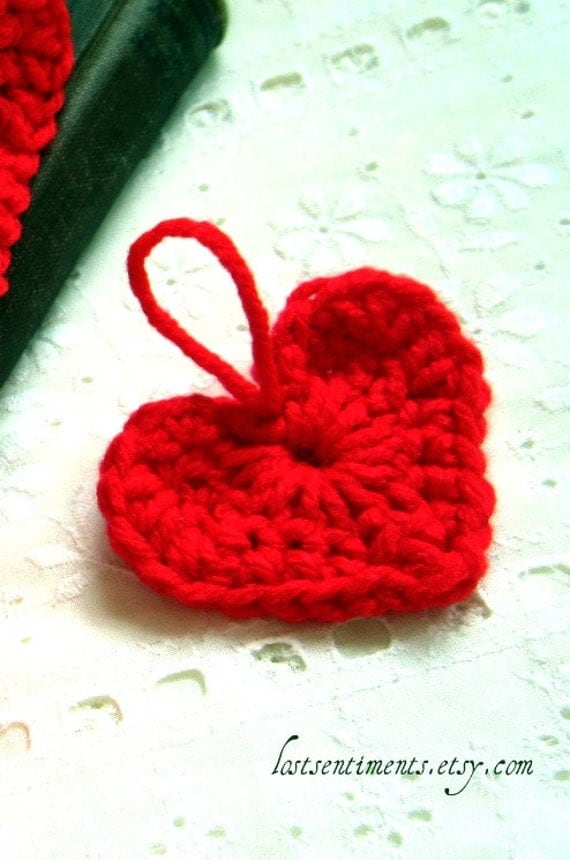 Heart Ornaments - Set of 5 Crocheted - Bright Red - for Valentines Day scrapbooking and embellishing by lostsentiments