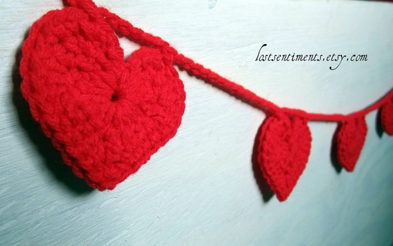 RESERVED for Kim - 2 Heart Buntings for Valentine's Day in Bright Red - Crocheted Home Decor - Wall Hanging Banner- by lostsentiments