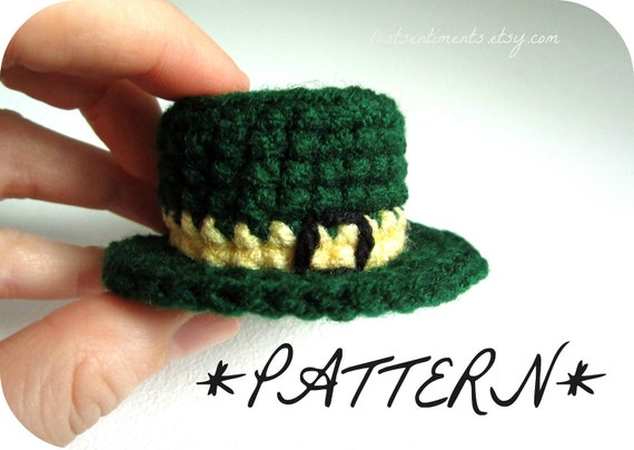 PATTERN - Tiny St. Patrick's Leprechaun Hat Crocheted in Amigurumi - Instant Download by lostsentiments