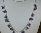 Amethyst, pearl and gemstone Y Necklace