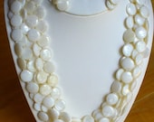 Multi strand mother of pearl necklace set