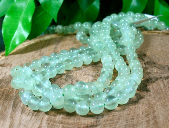 Glowing PREHNITE Smooth Round Beads 16 Inch Strand 8.3mm
