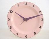 Pink Enamel Plate Clock