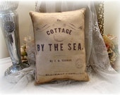 "Shabby Vintage Chic Inspired Sheet  Music Accent Pillow""Cottage by the Sea"""