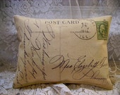 Shabby Vintage 1914 PostCard  Canvas Accent Pillow