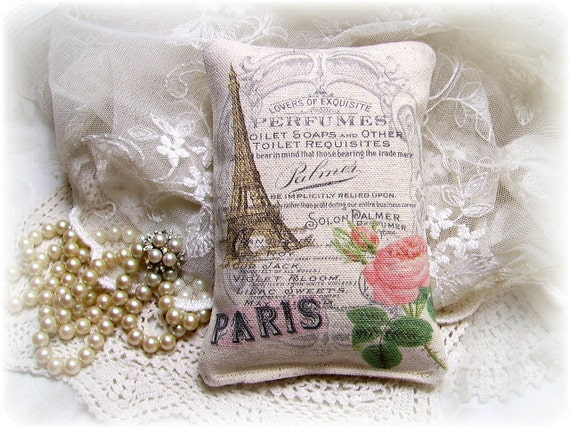 Shabby Paris Chic Eiffel Tower & Roses Canvas Accent Pillow